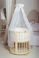 Круглая кроватка / Овальная кроватка 7 в 1 слоновая кость, фото 1