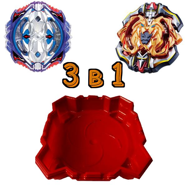 Набор 3 в 1: Арена  + Бейблейд Вайс Леопард  S3 и Beyblade Лучник Геркулес SB
