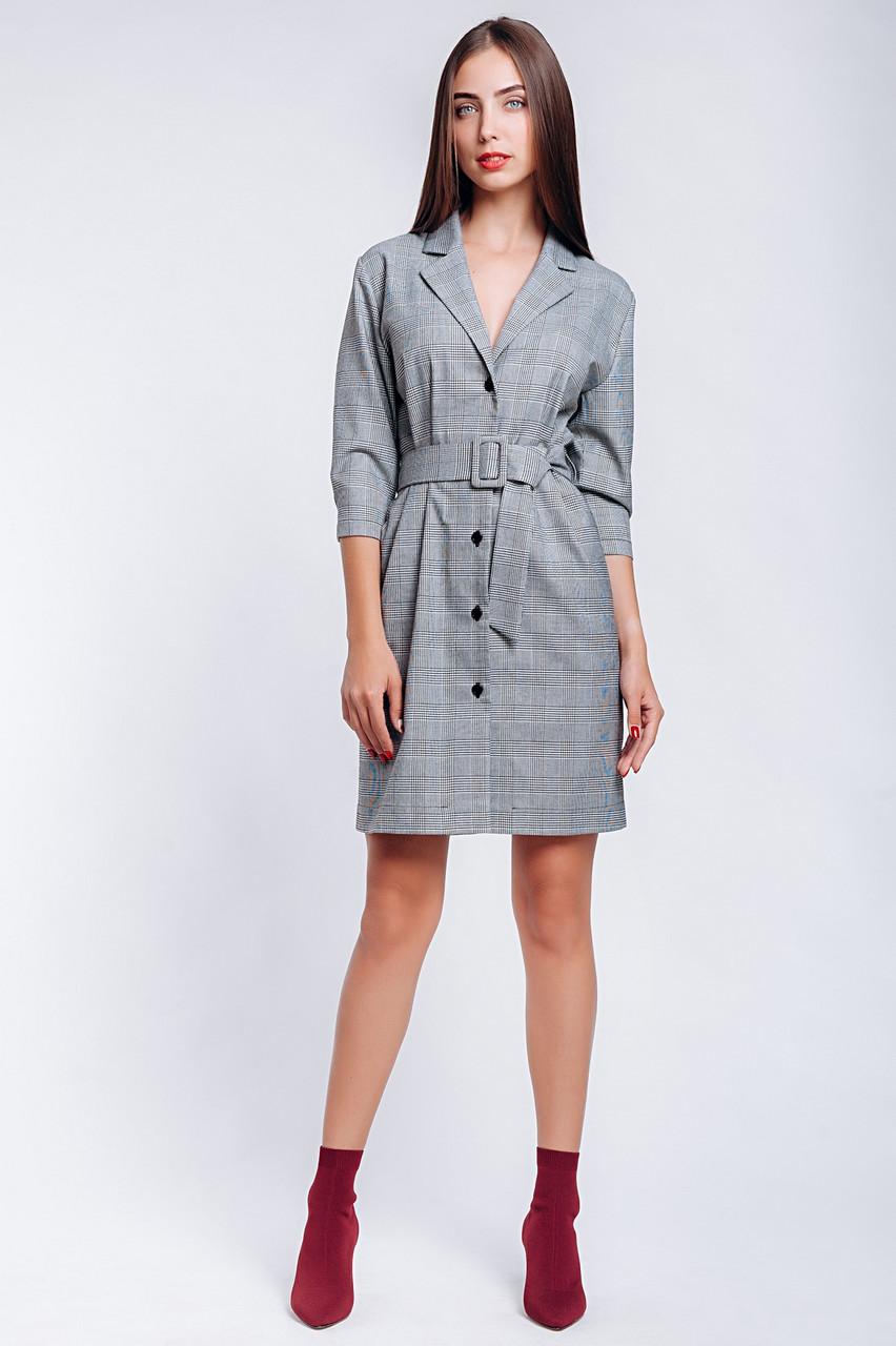 Платье-пиджак в клетку короткое