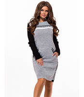Вязаное платье в спортивном стиле светло серый р. 42-48, фото 1