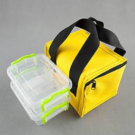 Комплект термосумка желтая + контейнеры  для еды 2шт х 0,5 л