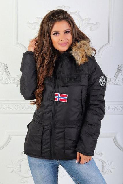 Ультрамодная женская зимняя куртка с эмблемой