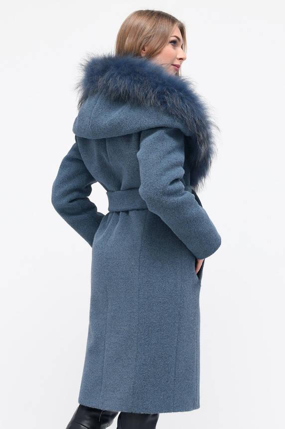 Зимнее женское пальто с мехом и капюшоном синее, фото 2