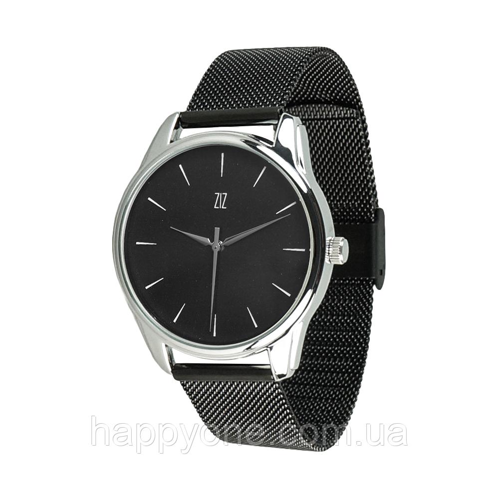"""Годинник наручний """"Білим по чорному"""" (чорний) + додатковий ремінець"""