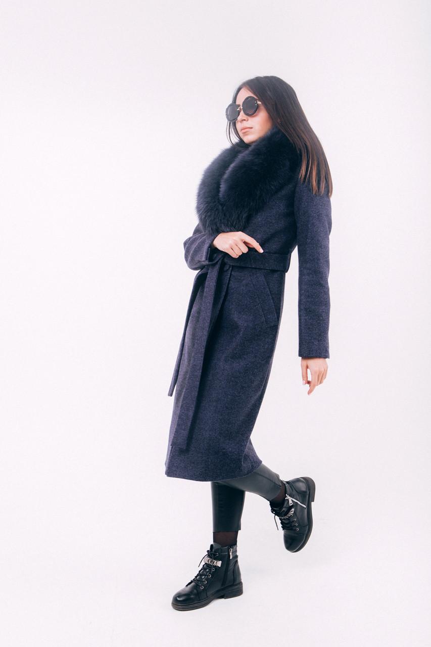 Длинное синее пальто с мехом зима O.Z.Z.E Д270