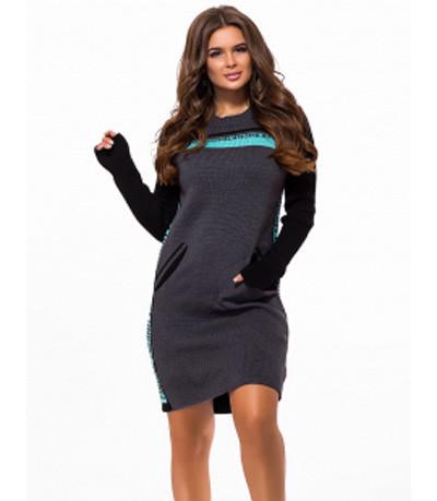 Вязаное платье-туника теплое с карманами темно-серый р.42-48