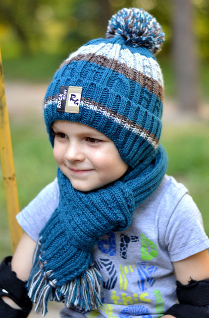 Зимняя вязаная шапка для мальчика