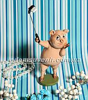 Статуэтка декоративная Селфи Свинка