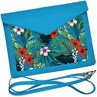 Клатч конверт блакитний - Тропічні квіти, фото 1