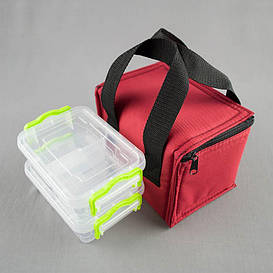 Комплект термосумка красная + контейнеры  для еды 2шт х 0,5 л