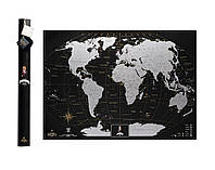 Скретч карта мира My Map Black edition Silver (английский язык) в тубусе, фото 1