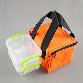 Комплект термосумка оранжевая + контейнеры  для еды 2шт х 0,5 л