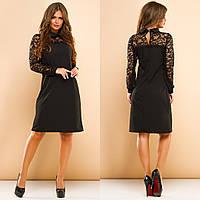 Женское платье-мини с воротничком с гипюровым верхом и рукавами, фото 1
