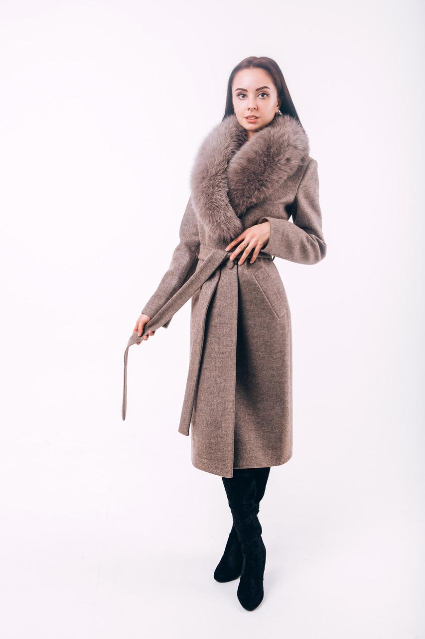 Длинное зимнее пальто с песцомO.Z.Z.E Д270
