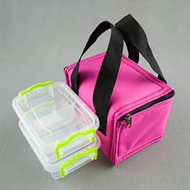Комплект термосумка розовая + контейнеры  для еды 2шт х 0,5 л