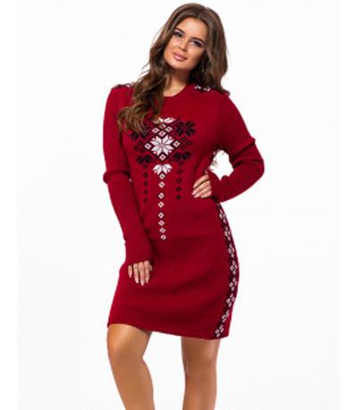 Вязаное платье-туника с орнаментом бордовый р.44-50