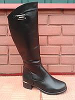 Высокие женские модные кожаные сапоги на низкой платформе.р.37.38.41..