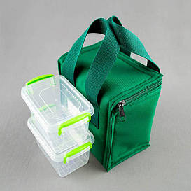 Комплект термосумка зеленая вертикал + контейнеры  для еды 2шт х 0,45 л