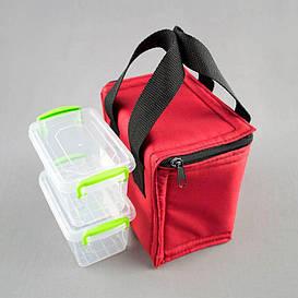 Комплект термосумка красная вертикал + контейнеры  для еды 2шт х 0,45 л