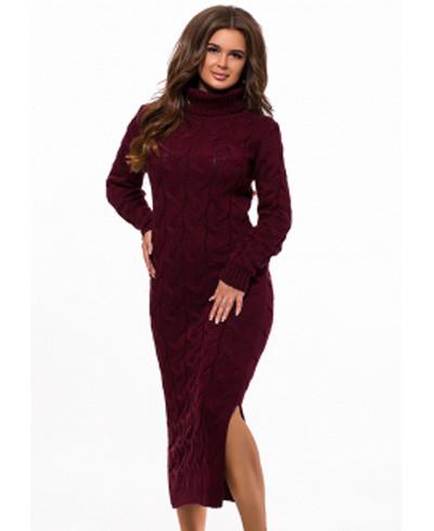Вязаное платье с горлом длинное с разрезом крупной вязки бордо р.42-48