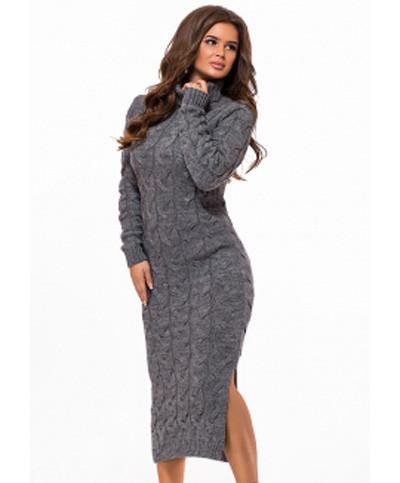 Длинное вязаное платье с горлом крупной вязки серый р.42-48
