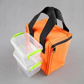 Комплект термосумка оранжевая вертикал + контейнеры  для еды 2шт х 0,45 л