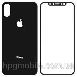 Защитное стекло для Apple iPhone X, переднее и заднее, черный - HPG Tempered glass 0.3 mm
