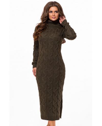 72206145acf Теплое вязаное платье с высоким воротником цвет хаки р.42-48 купить ...