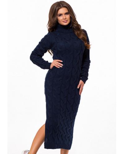 90cc365e772 Теплое платье крупной вязки с горлом длинное с разрезом темно-синий ...