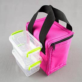 Комплект термосумка розовая вертикал + контейнеры  для еды 2шт х 0,45 л