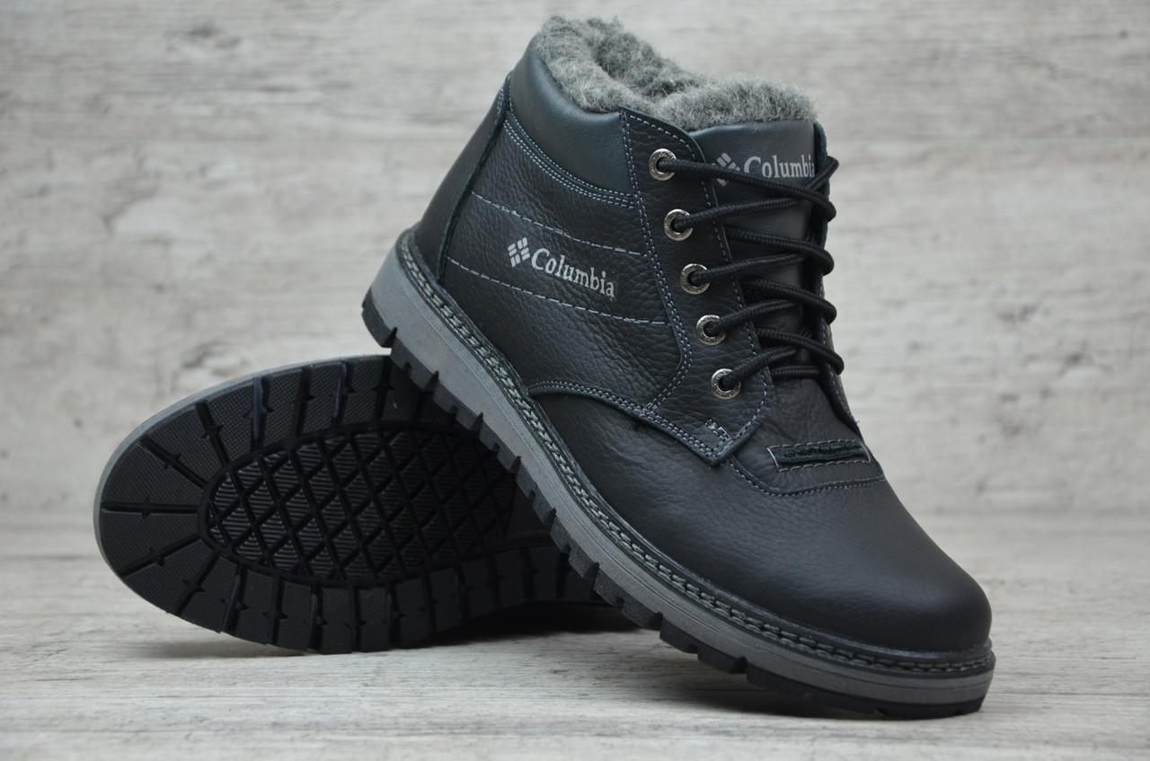 Мужские кожаные зимние ботинки Columbia черные (Реплика ААА+) ... f0aed70eeb0