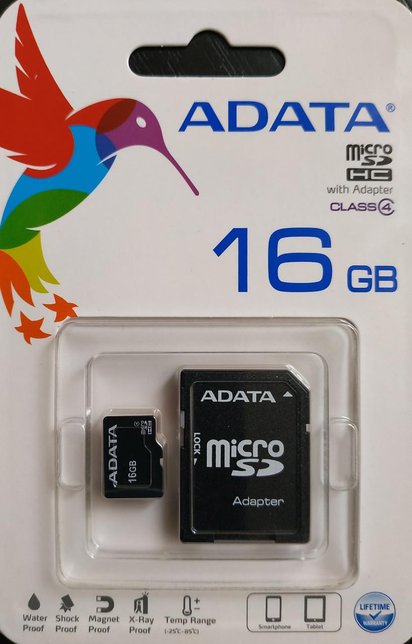 Карта памяти микро SDHC Adata 16 гб класс 4 с адаптером