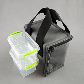 Комплект термосумка серый вертикал + контейнеры  для еды 2шт х 0,45 л