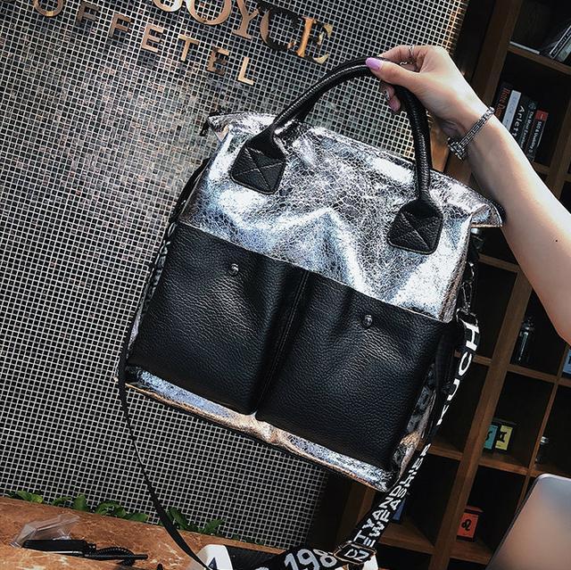 Блискуча жіноча сумка сіра