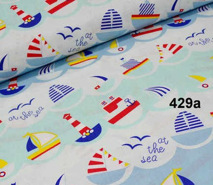 """Хлопок 50х40 см """"Кораблики на голубых и бирюзовых волнах"""""""