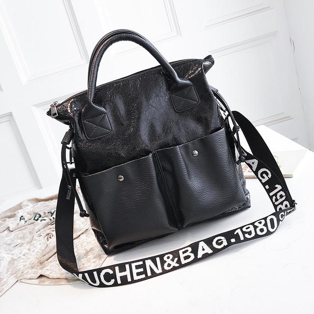 Блискуча жіноча сумка чорна