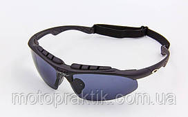 Мото/Вело Очки спортивные солнцезащитные OAKLEY 612 (реплика), Черный, (пластик, акрил, резинка шнурок)