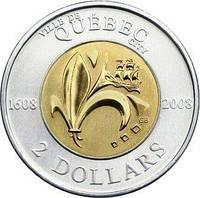 2 доллара 2008 Канада - 400 лет с момента основания Квебека. UNC/aUNC