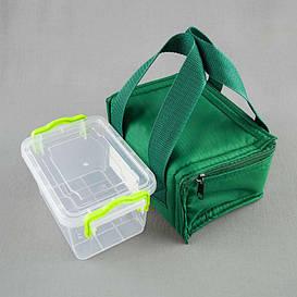 Комплект термосумка зеленая + контейнер  для еды 0,8 л