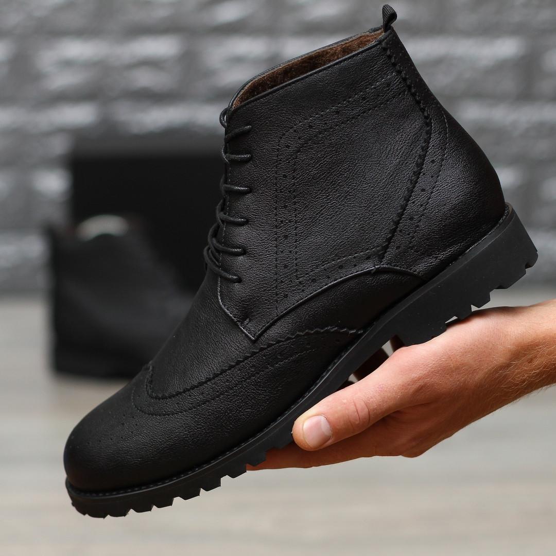 Мужские кожаные черные ботинки на меху, зимние кожанные ботинки (туфли)
