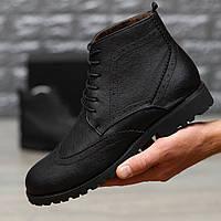 Мужские кожаные черные ботинки на меху, зимние кожанные ботинки (туфли), фото 1