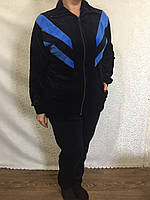 Велюровый спортивный женский костюм с полосками
