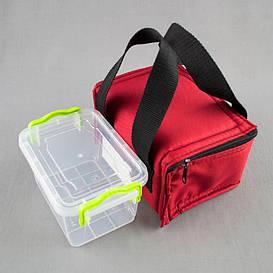 Комплект термосумка красная + контейнер  для еды 0,8 л