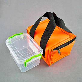 Комплект термосумка оранжевая+ контейнер  для еды 0,8 л