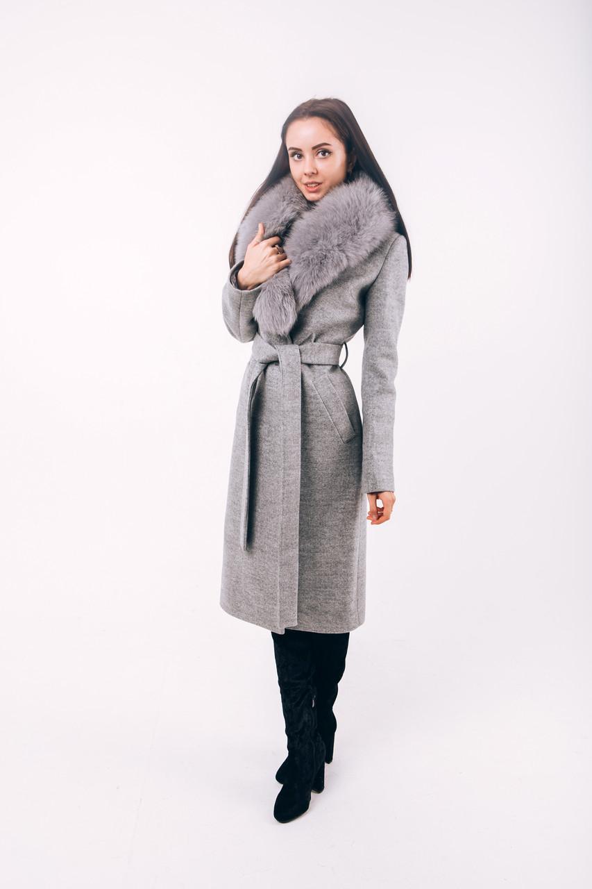 Длинное зимнее пальто серое с мехомO.Z.Z.E Д270