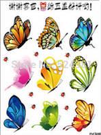 """Наклейка на стену, виниловые наклейки, украшения стены наклейки """"разноцветные бабочки 9шт и божьи коровки"""""""