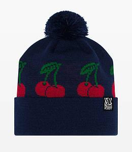 Молодежная зимняя шапка Urban Planet СN13 NVY CHERRY с помпоном