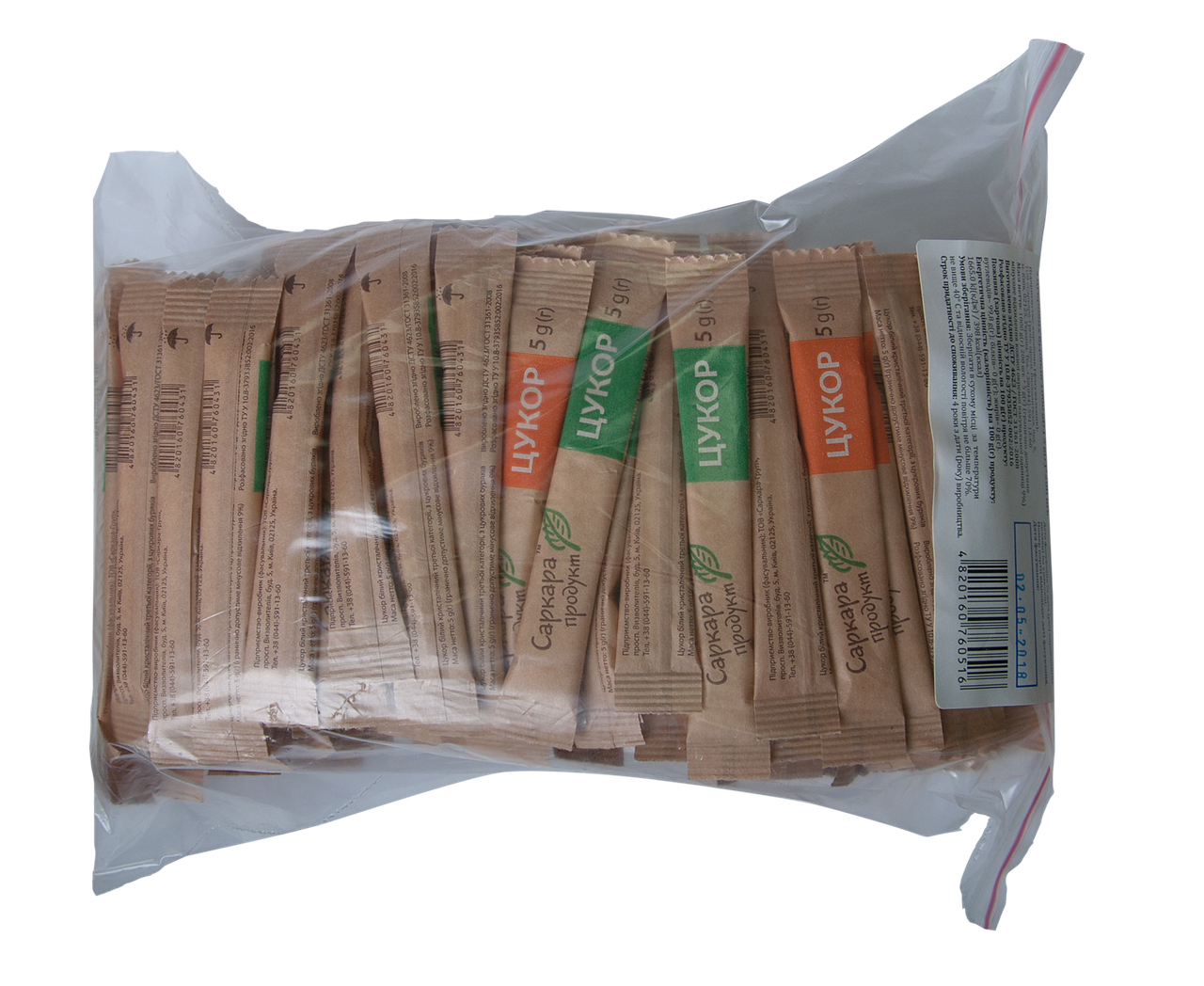 Сахар-песок в стиках ( 5г х 200 шт,) 1,0кг, zip-пакет