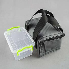 Комплект термосумка серая+ контейнер  для еды 0,8 л