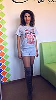 Костюм жіночий футболка + шорти, футер, з новорічним друком, сірий